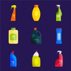 清洁剂扁平化漫画图片