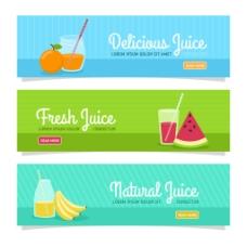 三个夏季各种水果横幅背景