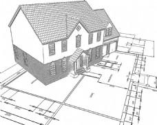 手绘草图风格房子插图