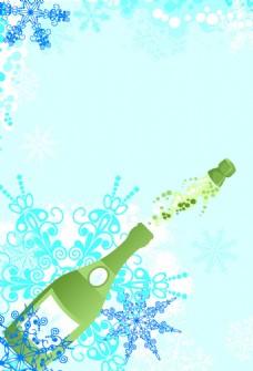 矢量香槟瓶子花纹背景设计