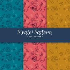 手绘各种海盗元素图案