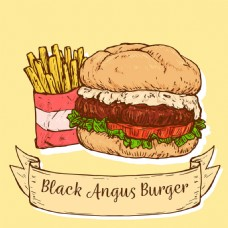 手绘风格美味汉堡背景