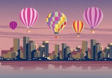 城市背景热气球素材