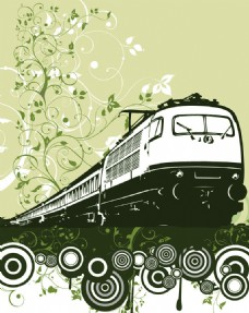 花纹火车元素背景