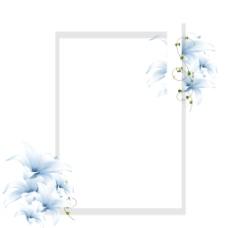 清新蓝色花朵边框