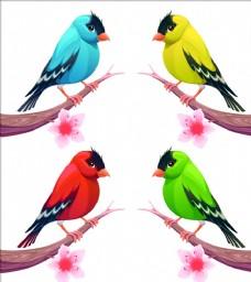 春季站在树枝的小鸟