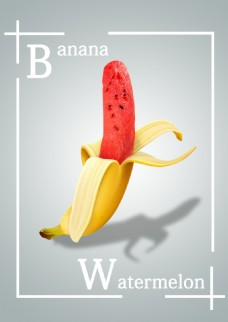 香蕉、西瓜结合招贴