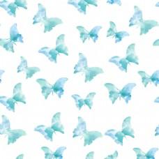 蓝色水彩蝴蝶图案背景