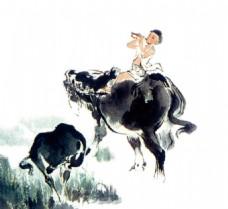 水墨画牧童骑牛吹笛
