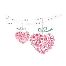 粉色花纹心形元素