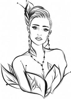 手绘时尚女郎