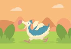 扁平手绘渡渡鸟插画