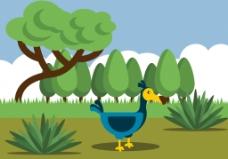 扁平化卡通渡渡鸟插画
