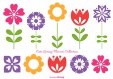 可爱扁平花朵素材