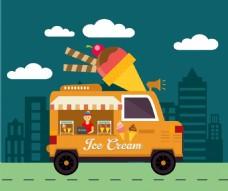 扁平冰淇凌车插画