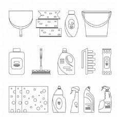 清洁用品线条图标图片