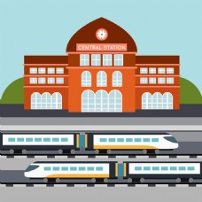 高速列车高铁火车站矢量设计素材