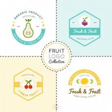 四个水果平面设计标志logo