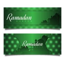 斋月伊斯兰元素绿色横幅