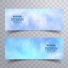 蓝色艺术水彩横幅背景