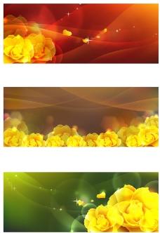 花卉波纹装饰banner