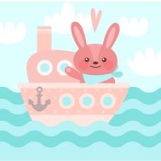 可爱的粉红色的小船与兔子背景