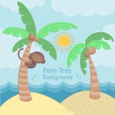 手绘棕榈树可爱猴子热带背景素材
