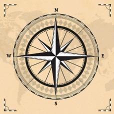 指南针与世界地图背景