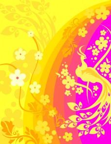 矢量孔雀花卉素材背景