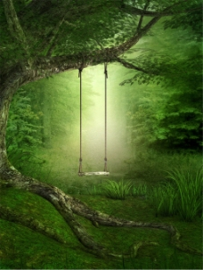 荡秋千树林背景图片