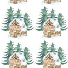 水彩房子背景图片