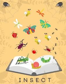 矢量书籍昆虫素材