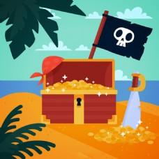 海盗宝贝金币箱子海滩背景