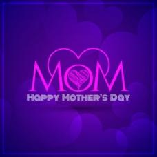 优雅的紫色背景母亲节设计模板