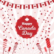 扁平化设计加拿大国庆各种元素背景