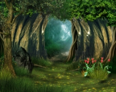 拱形树林仙境背景图图片