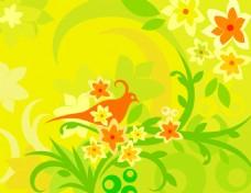 矢量喇叭花卉素材背景