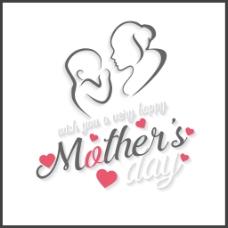 母亲节艺术字母子插图