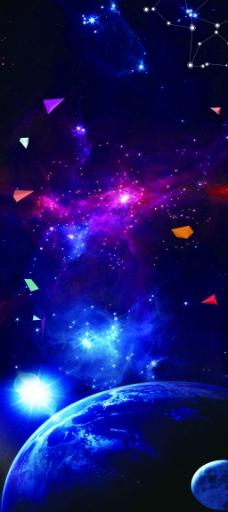 炫酷太空显示器易拉宝背景
