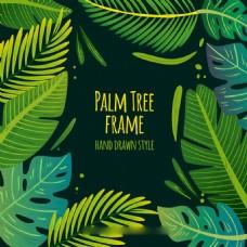 手绘绿色棕榈树叶子边框广告背景素材