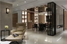 现代中式客厅餐厅装修效果图