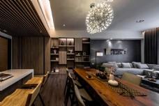 港式台式时尚客厅设计家装效果图