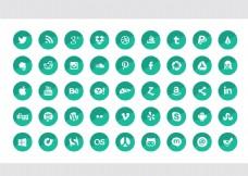 草绿圆形镂空社交媒体图标集