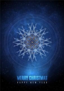蓝色雪花图案圣诞海报矢量素材下载