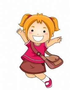 可爱儿童放学EPS