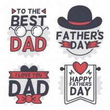 四个红色元素父亲节装饰标签