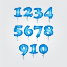 矢量蓝色气球数字