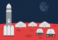 太空殖民地扁平插画