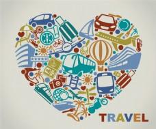 心形元素旅游箱子图片