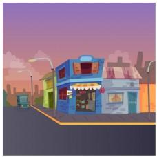 城市街头插画风格背景素材
